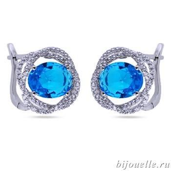 Серьги с цирконами, цвет синий, покрытие: родий - фото 4732