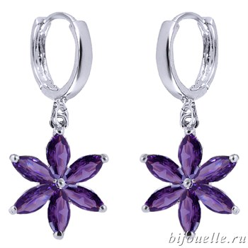 Серьги с цирконами, цвет фиолетовый, покрытие: родий - фото 4733