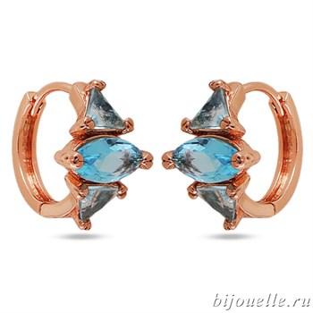 Серьги с цирконами, цвет голубой, покрытие: золото розовое - фото 4762