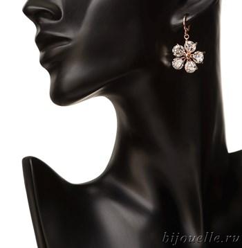 """Серьги """"Сакура"""" с белыми цирконами, покрытие: золото розовое - фото 4773"""