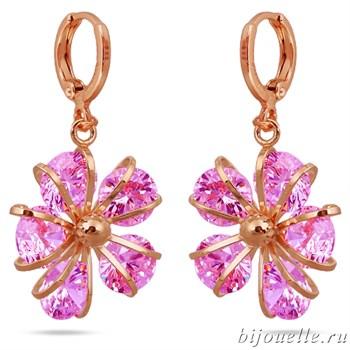 """Серьги """"Сакура"""" с розовыми цирконами, покрытие: золото розовое - фото 4774"""