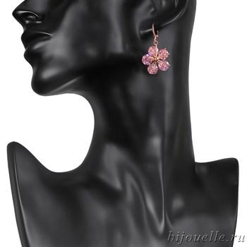 """Серьги """"Сакура"""" с розовыми цирконами, покрытие: золото розовое - фото 4775"""