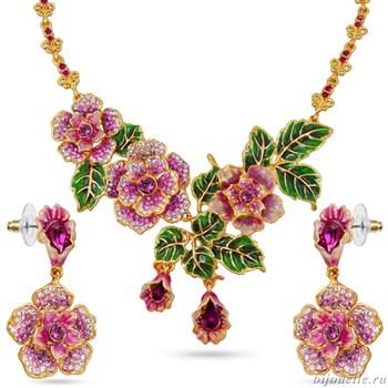 Комплект: колье, серьги с кристаллами Swarovski и эмалью, цвет микс, розовый, покрытие золото - фото 4912