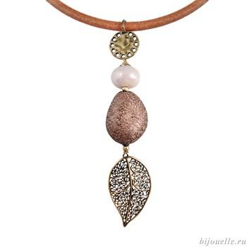 Кулон с натуральными камнями и эмалью на кожаном шнурке, цвет коричневый, покрытие: бронза - фото 4915