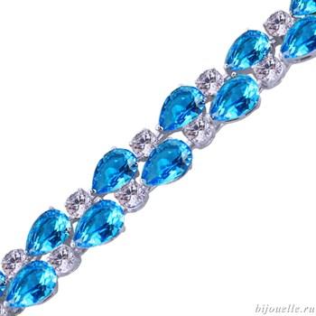 Браслет с цирконами, цвет темно-голубой, белый, покрытие: родий - фото 4923