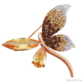 Брошь с кристаллами Swarovski, цвет микс, покрытие: золото - фото 4992