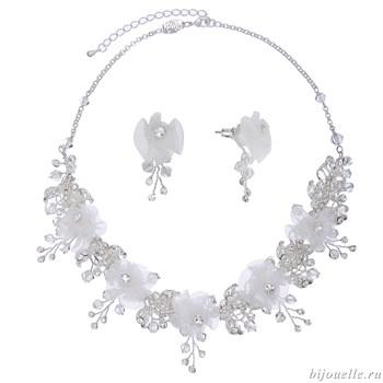"""Свадебная бижутерия для невесты комплект """"Белые цветы"""" - фото 5009"""