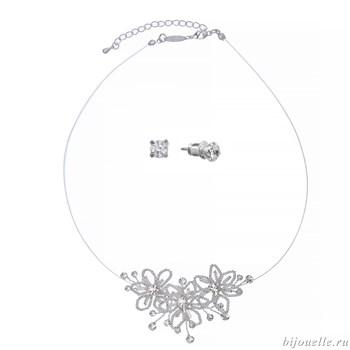 Свадебное колье из бисера и серьги из бисера, комплект бижутерии - фото 5013