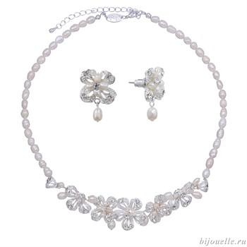 Комплект бижутерии для невесты из жемчуга с кристаллами Сваровски - фото 5014