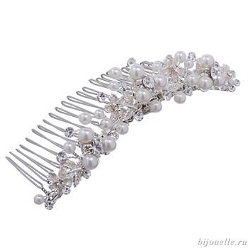 Гребень для волос свадебный центральный с кристаллами Сваровски - фото 5022