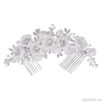 """Свадебный аксессуар для прически с кристаллами Сваровски """"Белые цветы"""" - фото 5025"""