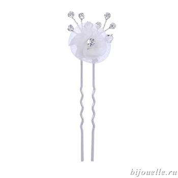 """Шпильки для волос с кристаллами Сваровски """"Белые цветы"""" - фото 5029"""