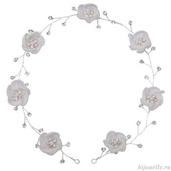 """Свадебное украшение на голову на проволоке """"Белые цветы"""" - фото 5030"""