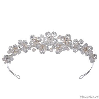 Диадема свадебная из жемчуга с кристаллами Сваровски - фото 5033