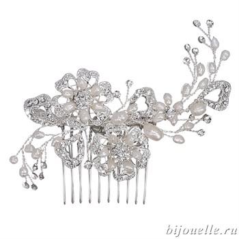 Гребень для волос свадебный из жемчуга с кристаллами Сваровски - фото 5037