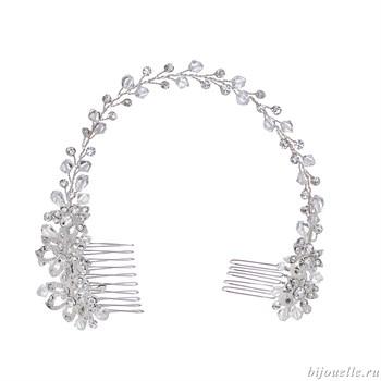 Свадебный аксессуар для прически с кристаллами Сваровски - фото 5039