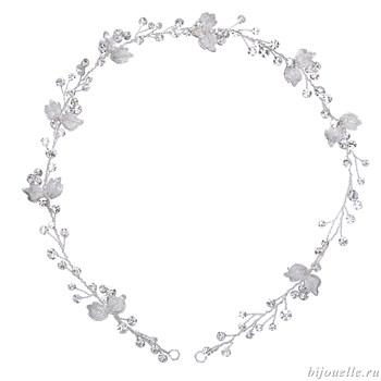 Свадебное украшение для прически на проволоке с кристаллами Сваровски - фото 5043