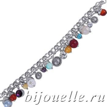 Браслет с подвесками из камней и кристаллов, серебро - фото 5085