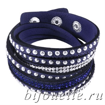 Браслет женский из темно-синей замши с кристаллами - фото 5094