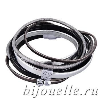 Браслет из натуральной кожи цвет черный, серебряный - фото 5097