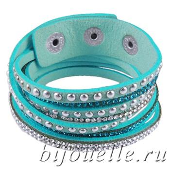 Браслет женский из голубой замши с кристаллами - фото 5101