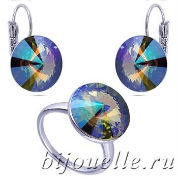 Ювелирная бижутерия: кольцо и серьги со Сваровски зелено-фиолетовый хамелеон, белое золото - фото 5134