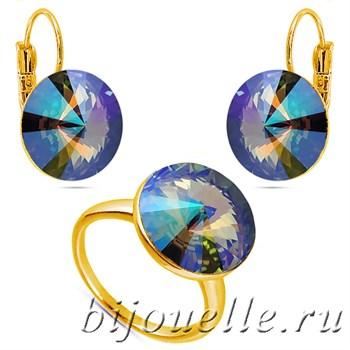 Комплект  кольцо и серьги с элементами Swarovski зелено-фиолетовый хамелеон, покрытие золото - фото 5148
