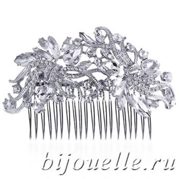 """Украшение для волос гребень """"Искушение"""" с белыми кристаллами - фото 5160"""