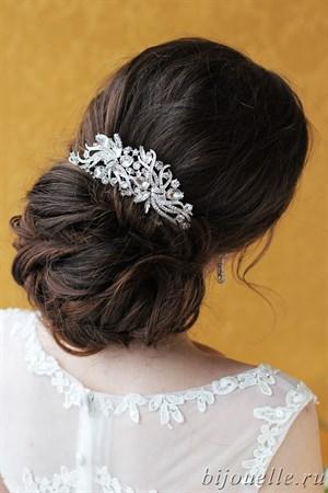 """Украшение для волос гребень """"Искушение"""" с белыми кристаллами - фото 5161"""