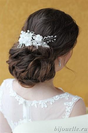 """Украшение для волос """"Гребень невесты"""" с жемчугом и цветами - фото 5162"""