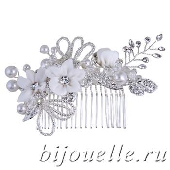 """Украшение для волос """"Гребень невесты"""" с жемчугом и цветами - фото 5163"""