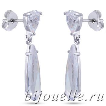 """Свадебные серьги """"Капли"""" с белыми цирконами - фото 5173"""
