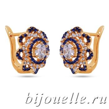 Серьги позолоченные с синими цирконами - фото 5179