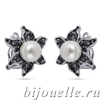 Серьги с жемчугом и кристаллами Сваровски, покрытие черненое серебро - фото 5181