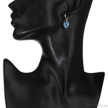 """Серьги с кристаллами Сваровски """"Голубые сердечки"""" - фото 5190"""