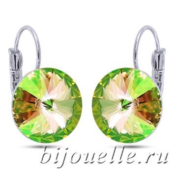 Серьги с кристаллами Сваровски зеленый хамелеон 1,4см, покрытие: родий - фото 5203
