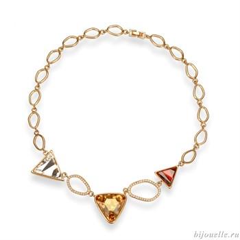 Колье с кристаллами Swarovski, цвет микс, покрытие: золото - фото 5254