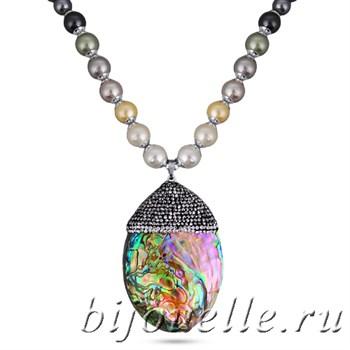 Колье с жемчугом Майорка, кристаллами Swarovski, перламутром, цвет белый, покрытие: родий - фото 5270