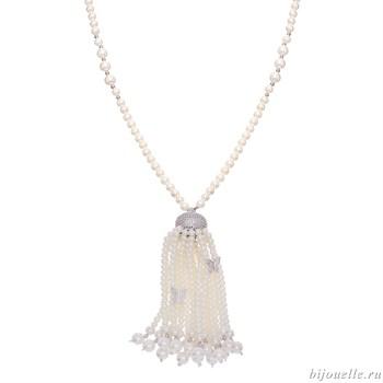 Колье с жемчугом Майорка, кристаллами Swarovski, перламутром, цвет белый, покрытие: родий - фото 5273