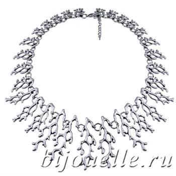 "Колье бижутерия ""Ветки кораллов"" серебро 60 см - фото 5291"