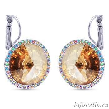 Серьги с кристаллами Swarovski, цвет шампань, покрытие: родий - фото 5305