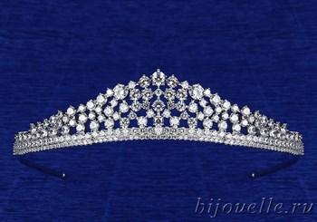 """Свадебная тиара """"Принцесса"""" с кубическим цирконием (высота 2,7 см), покрытие родий - фото 5368"""