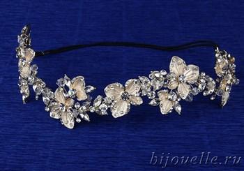 Чешское свадебное украшение на голову для прически цвет айвори (32*4 см) с кристаллами и кубическим цирконием, покрытие золото - фото 5370