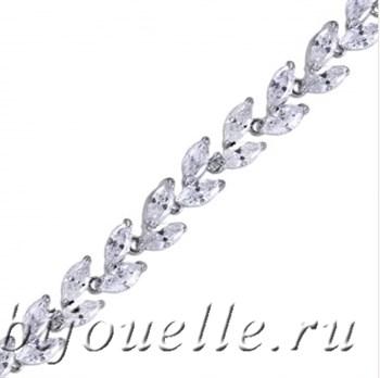 Вечерний женский браслет с белыми цирконами (ширина 0,7 см), покрытие родий - фото 5396