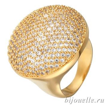 """Модное позолоченное кольцо """"Большой гриб"""" с микро фианитами, покрытие желтое золото - фото 5399"""