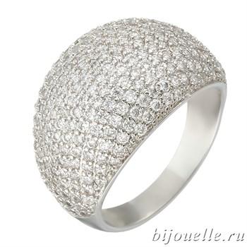 Широкое модное кольцо с микро фианитами ювелирная бижутерия, покрытие родий - фото 5400