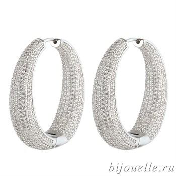 """Роскошные Серьги-кольца """"Silver"""" с микро фианитами (3,7*3,7 см), покрытие родий - фото 5409"""