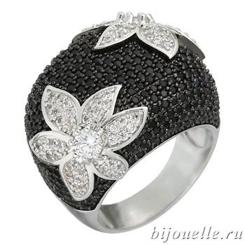 """Крупное кольцо """"Черный цветок"""" с черными камнями микро циркония, покрытие родий - фото 5422"""