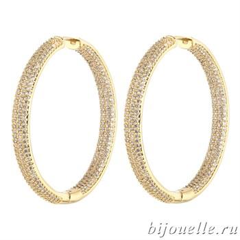 Большие серьги-кольца с микро фианитами (4,5*4,5 см), покрытие золото - фото 5427