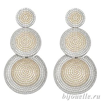 """Вечерние круглые серьги """"Трио"""" с кубическим микро цирконием micro pave (7,4*3,6), 2 тона покрытия: родий, золото - фото 5432"""
